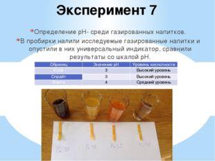 Эксперимент 7 Определение pH- среди газированных напитков. В пробирки налили