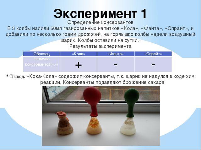 Эксперимент 1 Определение консервантов В 3 колбы налили 50мл газированных нап...