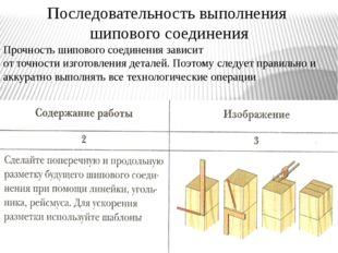 Последовательность выполнения шипового соединения Прочность шипового соединен