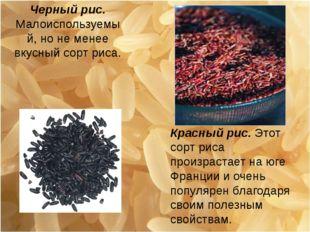 Черный рис. Малоиспользуемый, но не менее вкусный сорт риса. Красный рис. Это