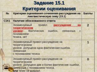 Задание 15.1 Критерии оценивания №Критерии оценивания сочинения-рассуждения