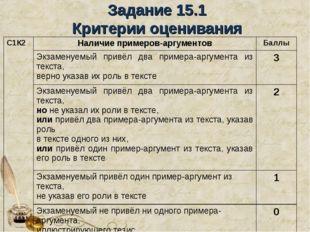 Задание 15.1 Критерии оценивания С1К2Наличие примеров-аргументовБаллы Экза