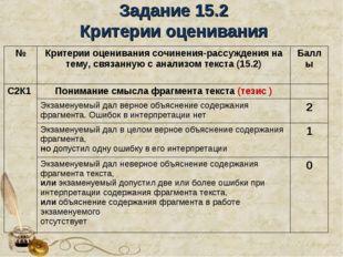 Задание 15.2 Критерии оценивания №Критерии оценивания сочинения-рассуждения