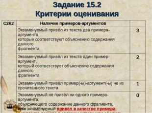 Задание 15.2 Критерии оценивания С2К2Наличие примеров-аргументов Экзаменуе