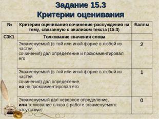 Задание 15.3 Критерии оценивания №Критерии оценивания сочинения-рассуждения