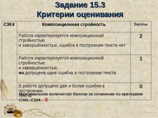Задание 15.3 Критерии оценивания Максимальное количество баллов за сочинение
