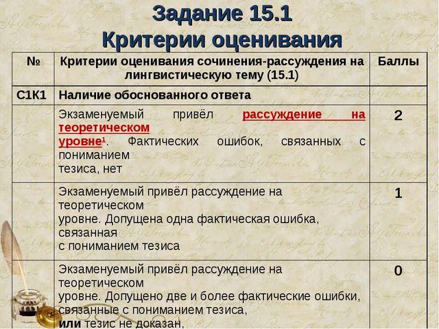 Задание 15.1 Критерии оценивания №Критерии оценивания сочинения-рассуждения...