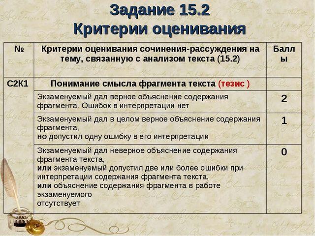 Задание 15.2 Критерии оценивания №Критерии оценивания сочинения-рассуждения...