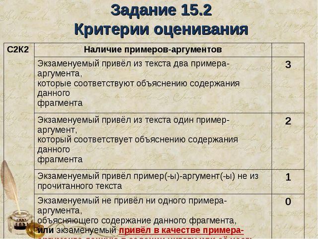 Задание 15.2 Критерии оценивания С2К2Наличие примеров-аргументов Экзаменуе...