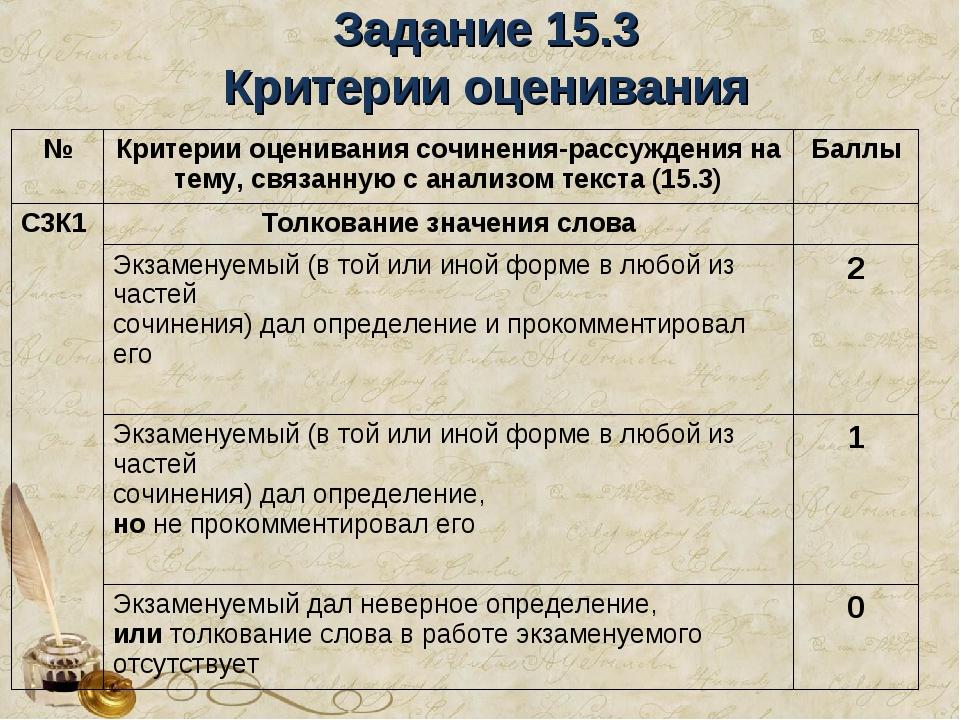 Задание 15.3 Критерии оценивания №Критерии оценивания сочинения-рассуждения...