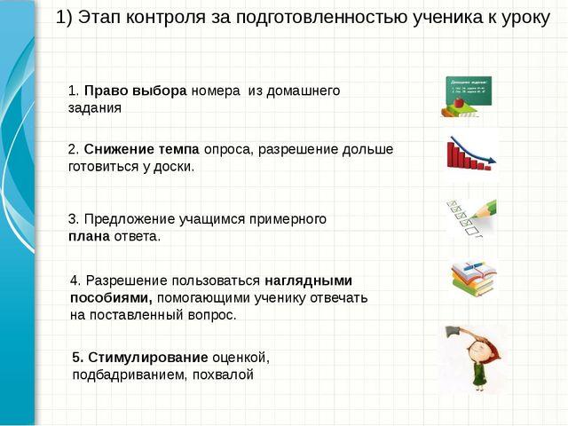 1) Этап контроля за подготовленностью ученика к уроку 1. Право выбора номера...