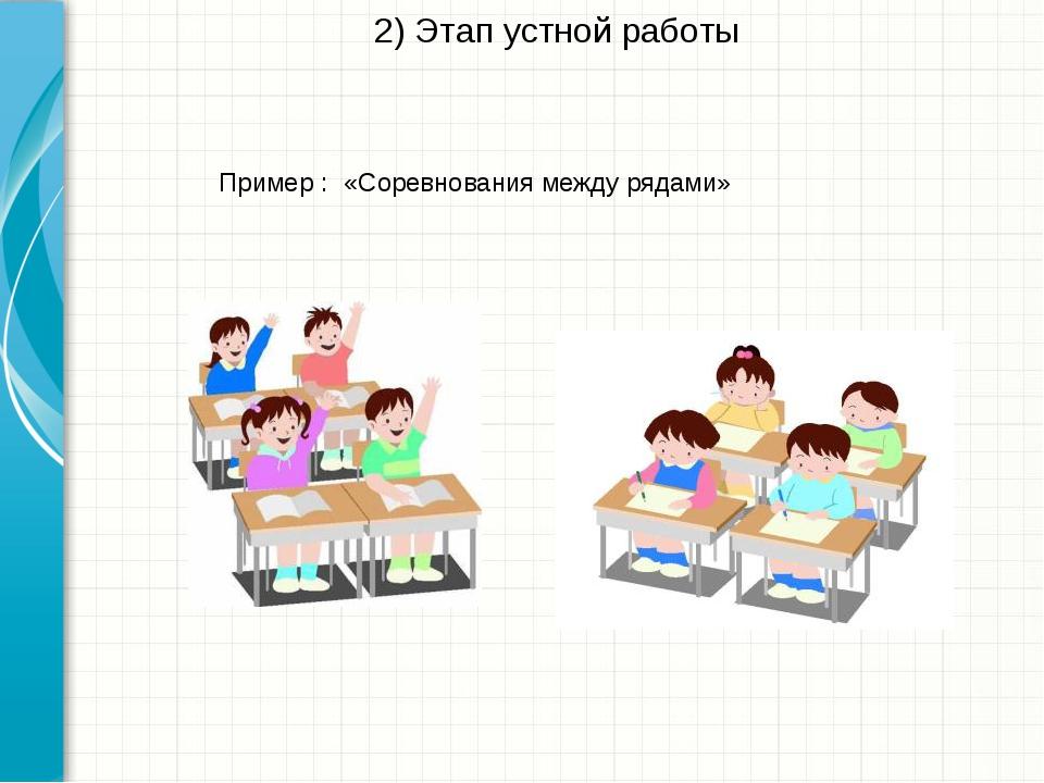 2) Этап устной работы «Соревнования между рядами» Пример : Microsoft Инженерн...