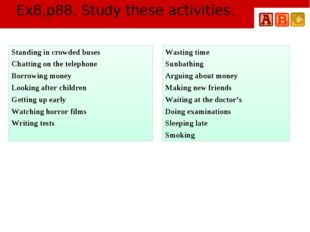Ex8,p88. Study these activities. Standing in crowded buses Chatting on the te