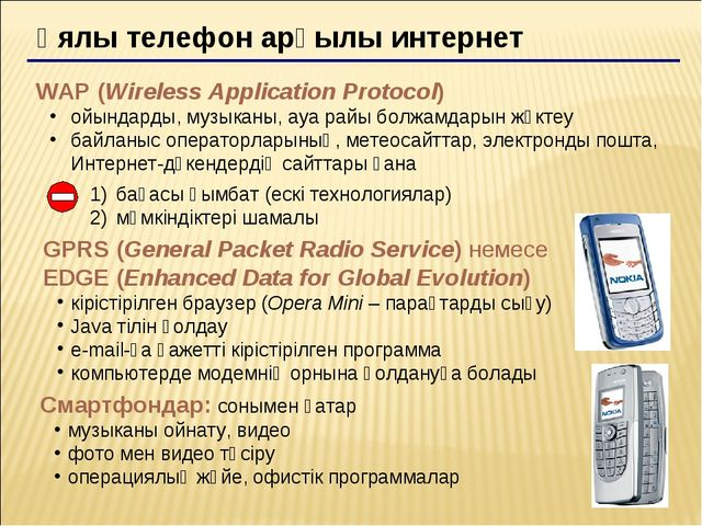 Ұялы телефон арқылы интернет WAP (Wireless Application Protocol) ойындарды, м...
