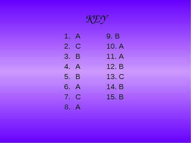 KEY A C B A B A C A 9. B 10. A 11. A 12. B 13. C 14. B 15. B