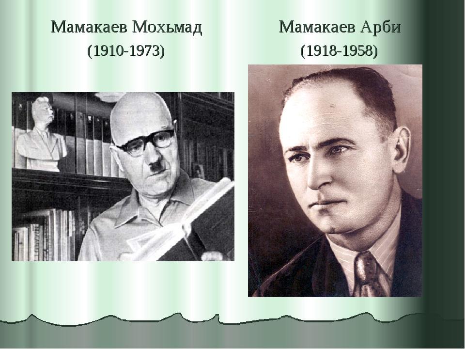 Мамакаев Мохьмад (1910-1973) Мамакаев Арби (1918-1958)