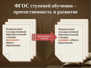 ФГОС ступеней обучения – преемственность и развитие Федеральный государственн