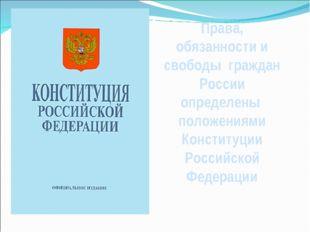 Права, обязанности и свободы граждан России определены положениями Конституци