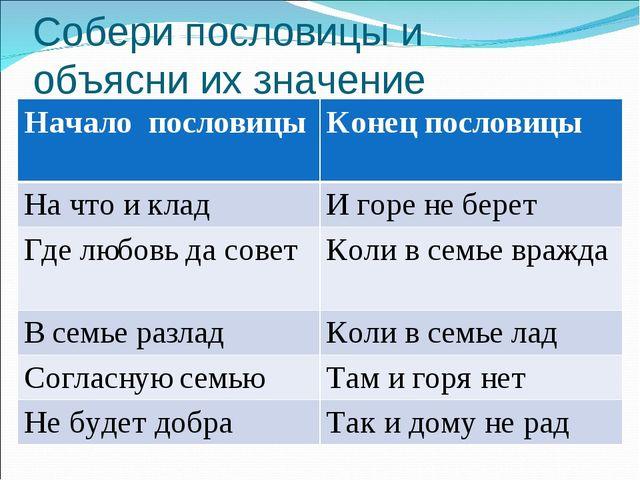 Собери пословицы и объясни их значение Начало пословицыКонец пословицы На чт...