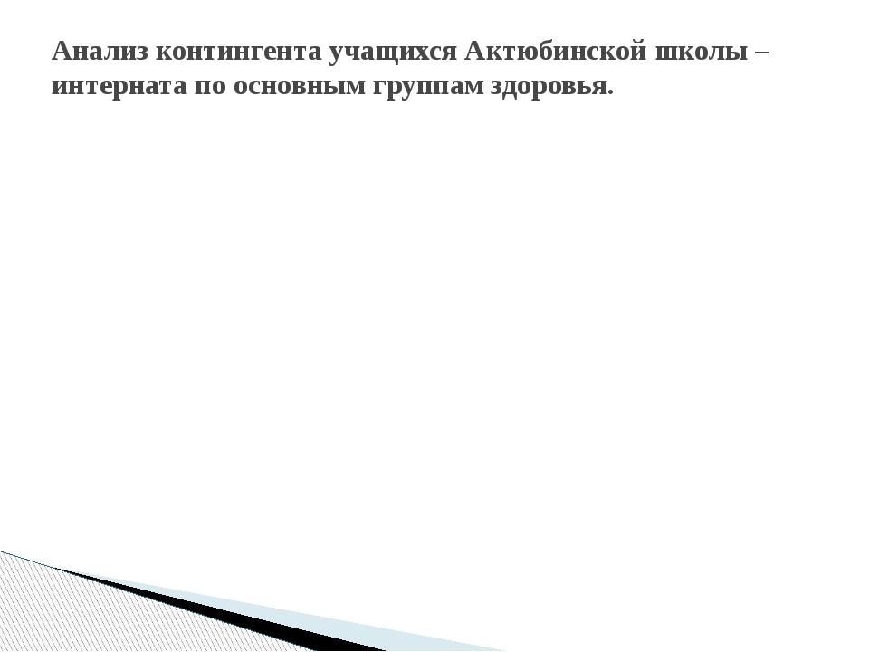 Анализ контингента учащихся Актюбинской школы –интерната по основным группам...