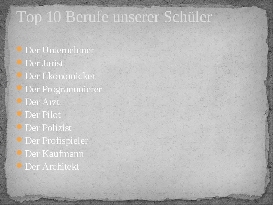 Top 10 Berufe unserer Schüler Der Unternehmer Der Jurist Der Ekonomicker Der...