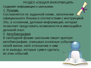 Содержит информацию о школьнике. 1. Резюме Составляется по заданной схеме, за