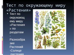 Тест по окружающему миру «Растения» Тест по окружающему миру «Растения» по ра