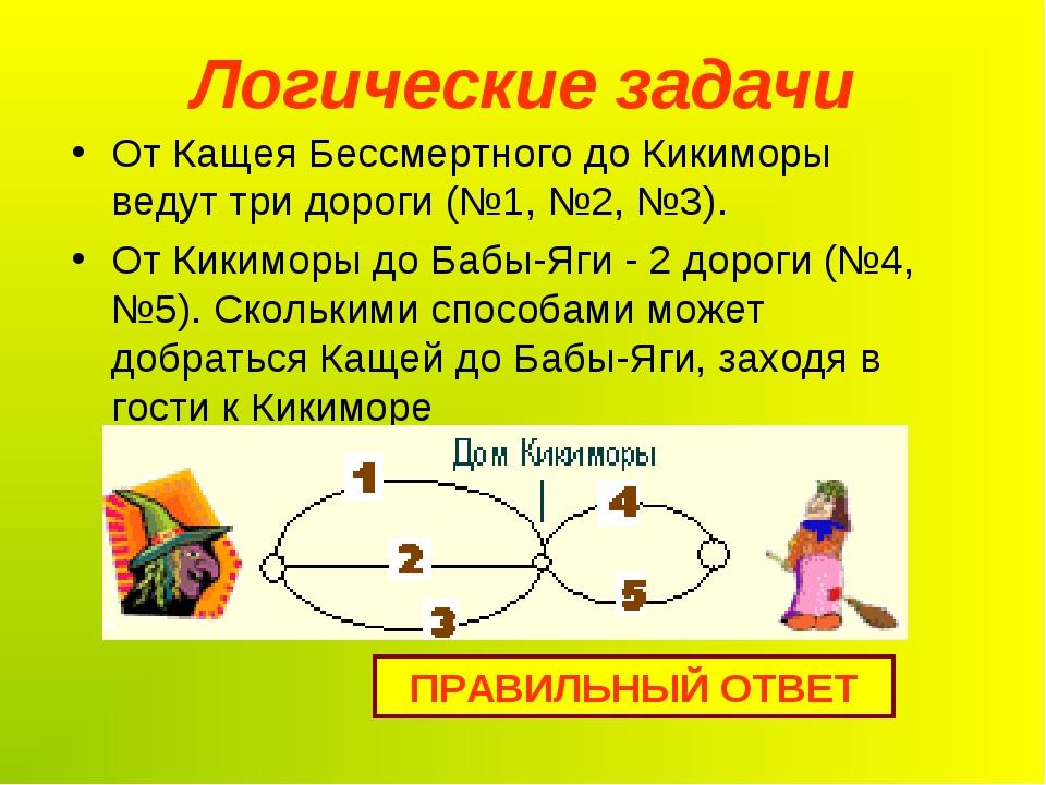 Логические задачи От Кащея Бессмертного до Кикиморы ведут три дороги (№1, №2,...