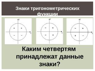 Знаки тригонометрических функции Каким четвертям принадлежат данные знаки?