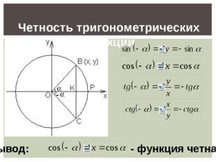 Четность тригонометрических функции Вывод: - функция четная