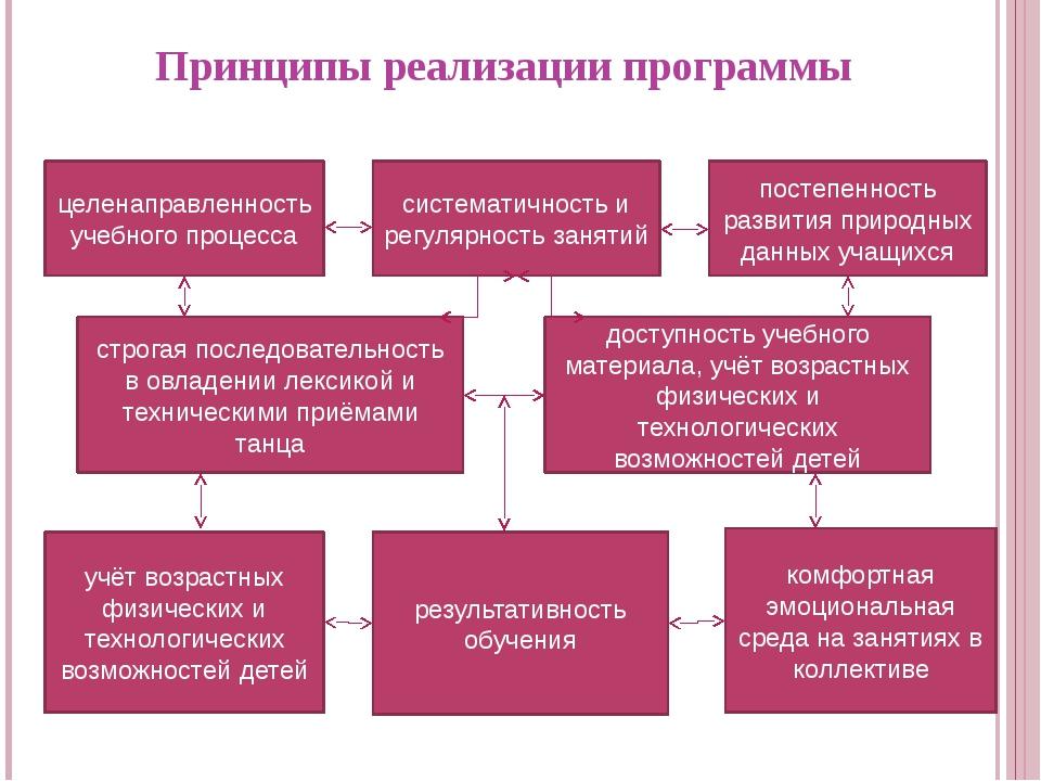 Принципы реализации программы целенаправленность учебного процесса систематич...