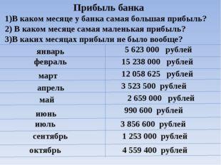 Прибыль банка 1)В каком месяце у банка самая большая прибыль? 2) В каком меся