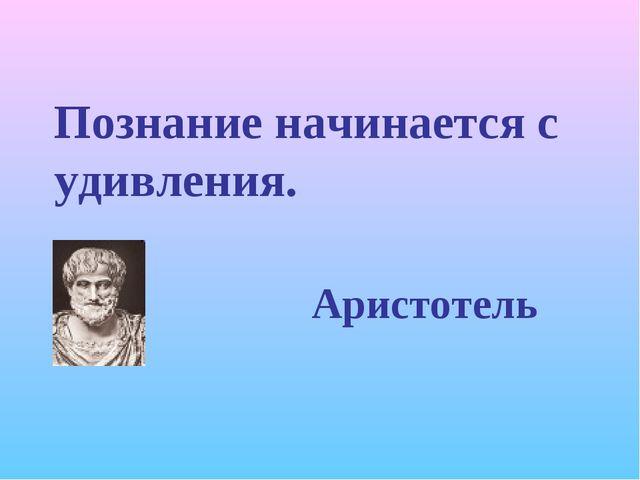 Познание начинается с удивления. Аристотель