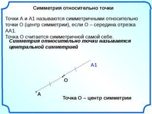 Симметрия относительно точки А О Точки А и А1 называются симметричными относи