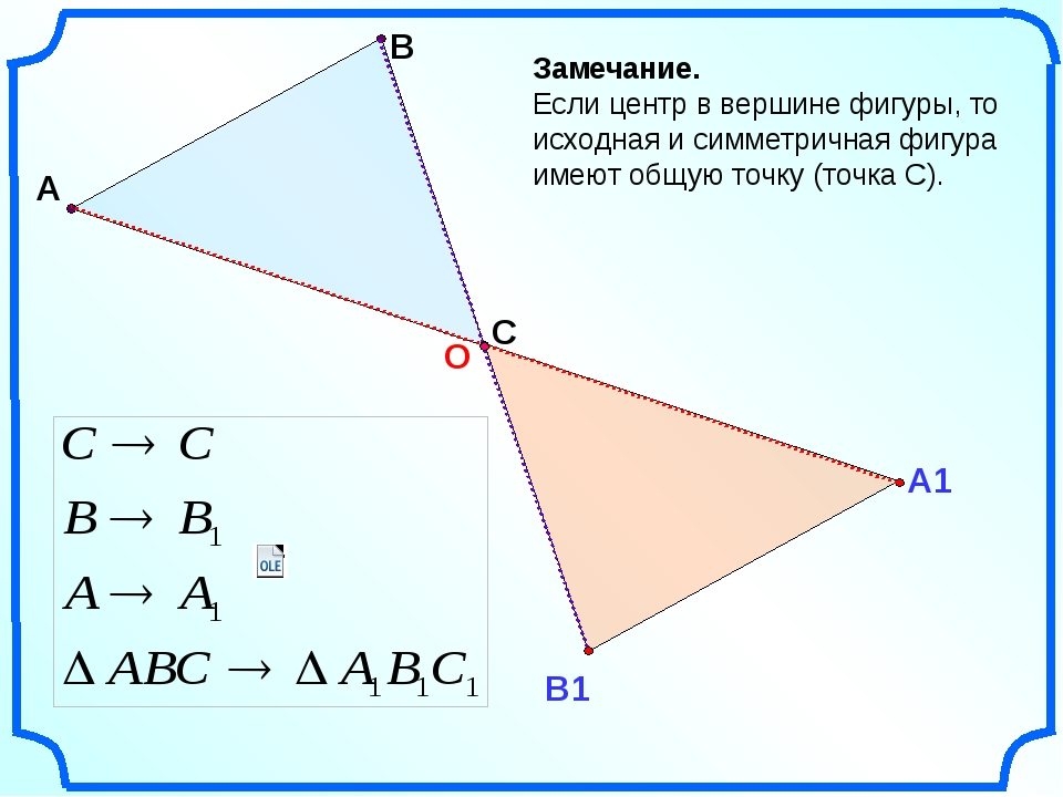А В Замечание. Если центр в вершине фигуры, то исходная и симметричная фигур...