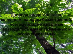 Природа представлялась коренным народам божественной, поэтому многие животны