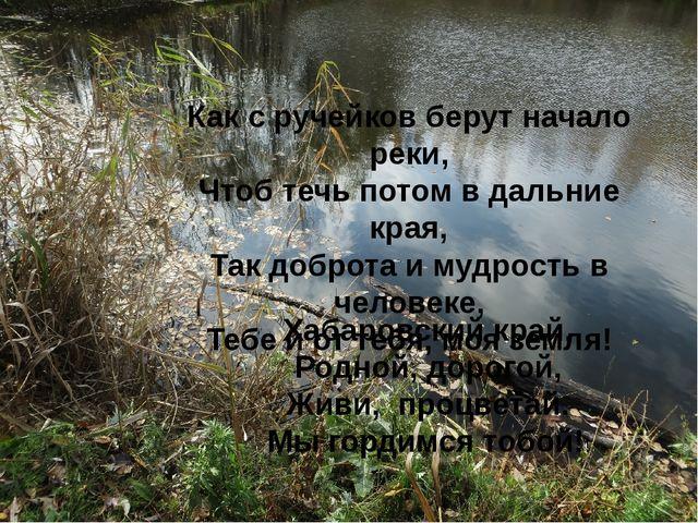 Как с ручейков берут начало реки, Чтоб течь потом в дальние края, Так доброта...