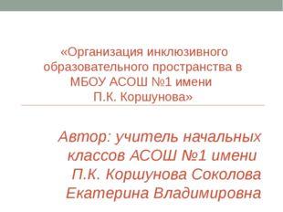 «Организация инклюзивного образовательного пространства в МБОУ АСОШ №1 имени
