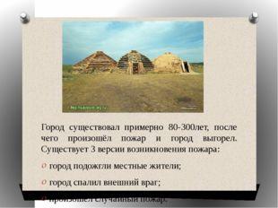 Город существовал примерно 80-300лет, после чего произошёл пожар и город выг