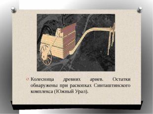 Колесница древних ариев. Остатки обнаружены при раскопках Синташтинского ком
