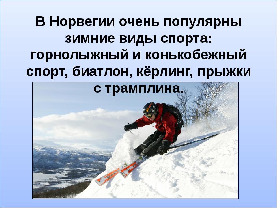 В Норвегии очень популярны зимние виды спорта: горнолыжный и конькобежный сп...