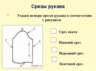 Срезы рукава Укажи номера срезов рукава в соответствии с рисунком Срез оката