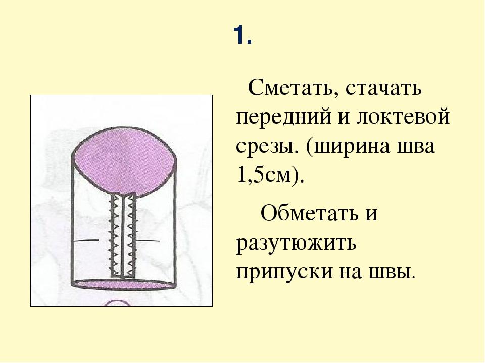 1. Сметать, стачать передний и локтевой срезы. (ширина шва 1,5см). Обметать и...