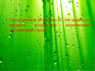 Экологическая безопасность- это защита от вредного воздействия загрязненной о