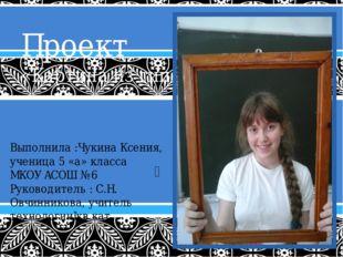 Проект «Картина из гипса» Выполнила :Чукина Ксения, ученица 5 «а» класса МКОУ