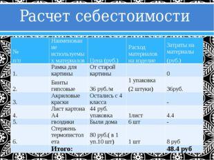 Расчет себестоимости № п/п Наименование используемых материалов Цена (руб.) Р
