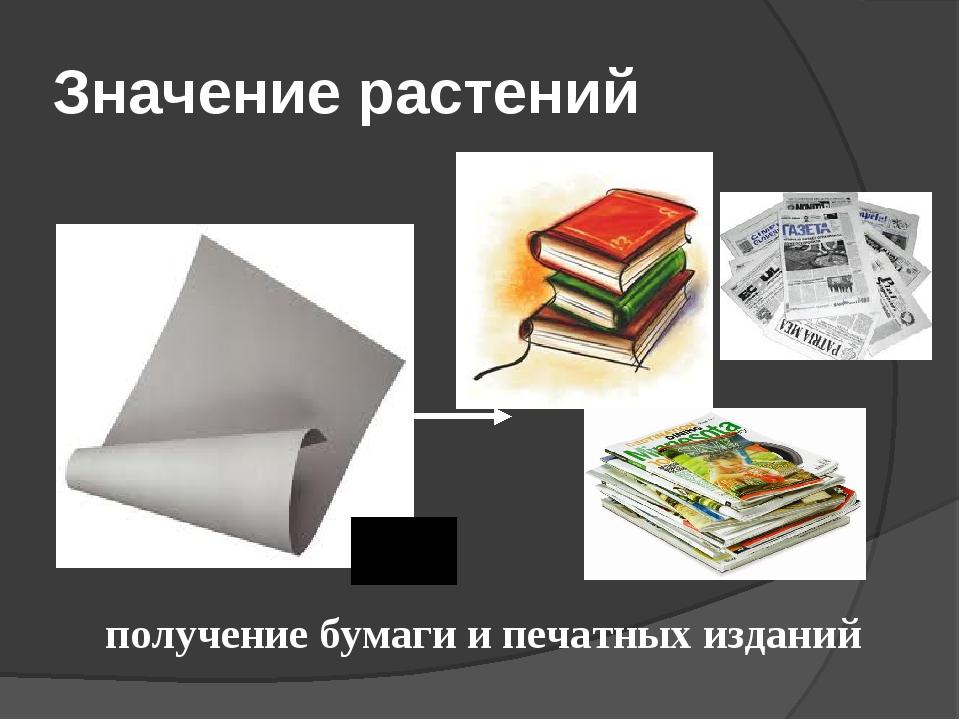 Значение растений получение бумаги и печатных изданий