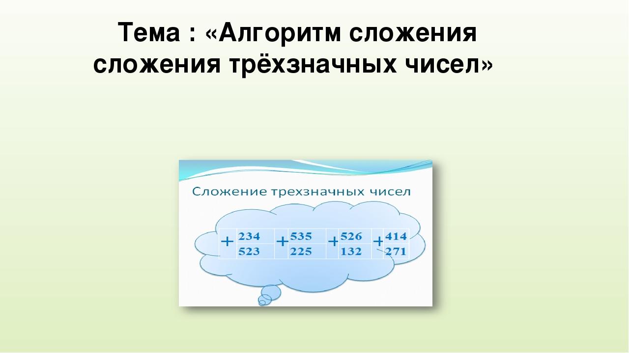 Тема : «Алгоритм сложения сложения трёхзначных чисел»