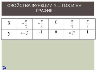 СВОЙСТВА ФУНКЦИИ Y = TGX И ЕЕ ГРАФИК