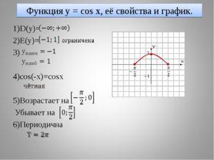 Функция y = cos x, её свойства и график. 1)D(y)= 2)E(y)= 3) 4)cos(-x)=cosx 5)